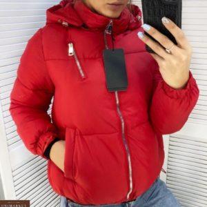 Заказать женскую короткую куртку на холофайбере со змейкой красного цвета (размер 44-48) онлайн