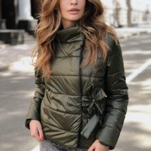 Купити кольору хакі куртку жіночу на кнопках з зав'язкою вигідно