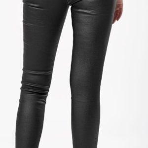 """Заказать женские черные брюки-лосины """"под кожу"""" на байке недорого"""