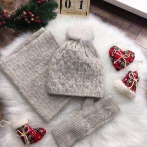 Замовити на розпродажі бежевий набір: рукавички, хомут і шапка з помпоном для жінок