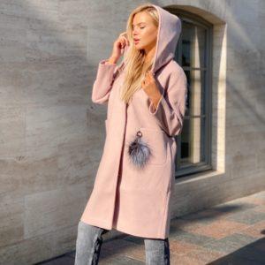 Заказать пудра пальто для женщин оверсайз из кашемира с капюшоном недорого