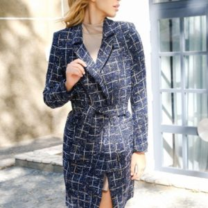 Заказать синее твидовое пальто на одну пуговицу с поясом женское онлайн