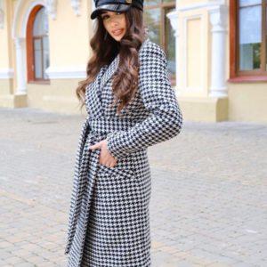 Замовити чорно-біле жіноче кашемірове пальто з принтом гусяча лапка недорого