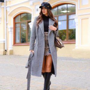 Купить женское кашемировое пальто с принтом гусиная лапка черно-белого цвета дешево