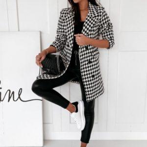 Купить гусиная лапка трендовое двубортное пальто прямого кроя для женщин (размер 42-48) онлайн