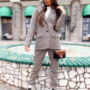 Заказать серый женский пиджак с добавлением шерсти онлайн