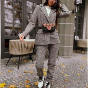 Купить женский пиджак на подкладке с добавлением шерсти серого цвета на осень дешево