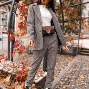 Приобрести по скидке женский пиджак на подкладке серый с добавлением шерсти