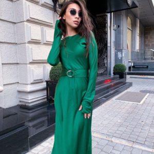 Замовити смарагдове жіноче плаття по фігурі з довгим рукавом в інтернеті
