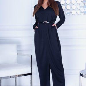 Заказать женское осеннее черного цвета длинное платье с карманами (размер 42-54) по скидке
