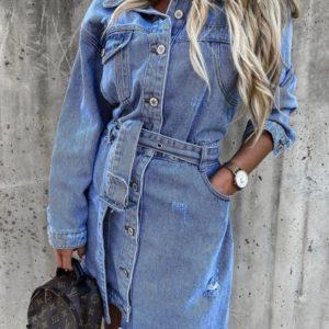 Купити блакитне джинсове жіноче плаття з довгим рукавом і асиметричним низом онлайн