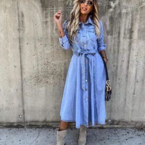 Замовити блакитне джинсове жіноче плаття-сорочка міді з поясом дешево