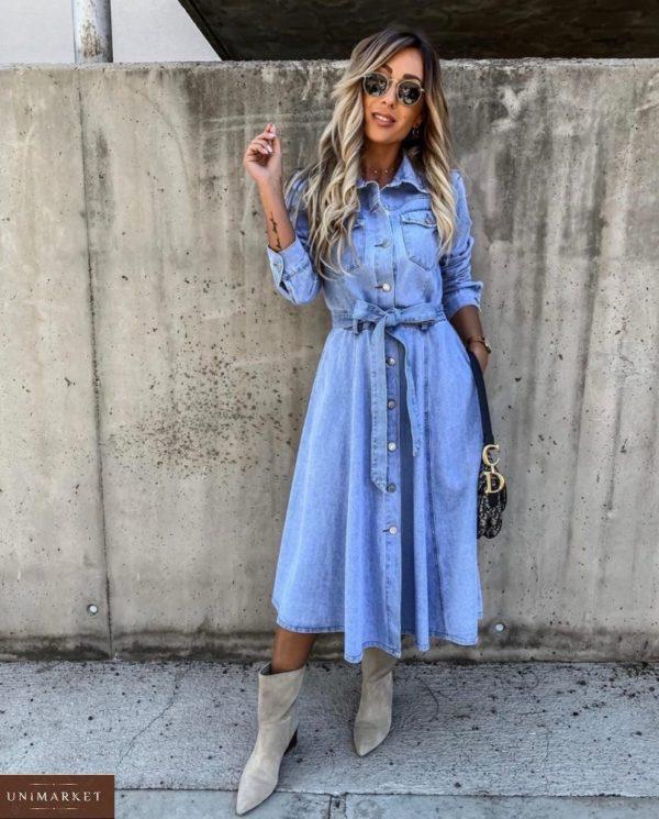 Заказать голубое джинсовое женское платье-рубашка миди с поясом дешево