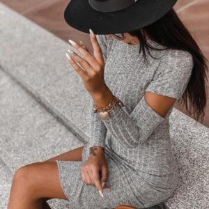 Заказать серое трикотажное женское платье рубчик с разрезами недорого