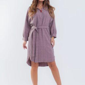 Заказать пудра сирень осеннее платье в клетку (размер 42-56) свободного кроя для женщин по скидке