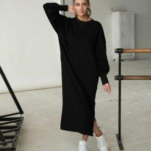 Купить черного цвета платье макси в спортивном стиле на флисе по низким ценам для женщин