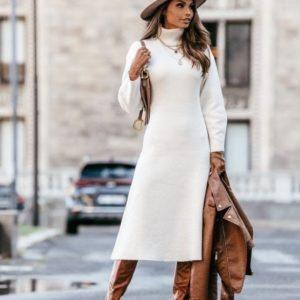 Купить женское плотное платье миди из ангоры под горло (размер 42-50) белого цвета онлайн