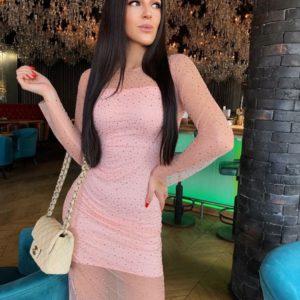 Заказать розовое вечернее платье женское с сеткой с мерцающими камушками на новый год недорого