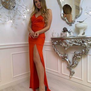 Купить женское вечернее платье в пол на бретельках красного цвета оп низким ценам