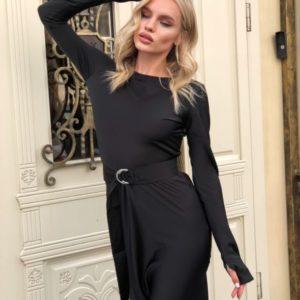 Купити чорне Сукня по фігурі з довгим рукавом для жінок вигідно