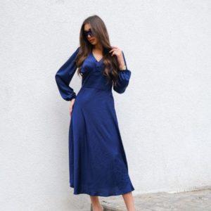 Замовити синє жіноче шовкове плаття довжини міді недорого
