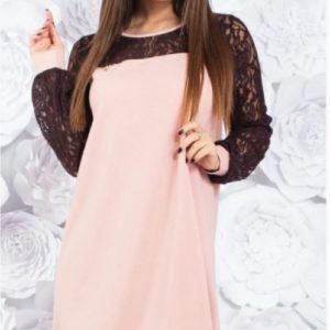 Заказать пудра свободное женское платье с гипюром (размер 42-60) недорого