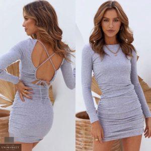 Купить серое женское трикотажное платье с открытой спиной недорого