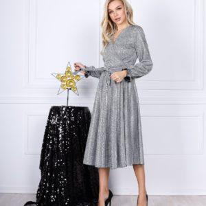 Замовити світло срібне святкове плаття для жінок А-силуету з люрексом (розмір 42-54) недорого