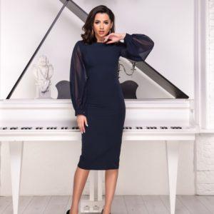 Приобрести женское элегантное платье черного цвета с шифоновыми рукавами (размер 42-54) по низким ценам
