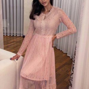 Замовити кольору пудра ніжне плаття для жінок з гіпюру з довгим рукавом на свято зі знижкою