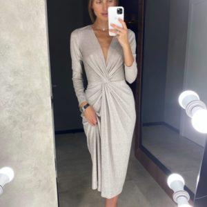 Придбати жіночу елегантну сукню з люрексом нюдову онлайн