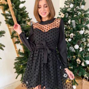 Купити жіночу чорну нарядну сукню з сіткою в горошок онлайн