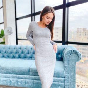 Купити сіре трикотажне жіноче плаття з ангори щільної в'язки (розмір 42-50) на осінь по знижці