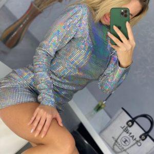 Купити сріблясту ошатну сукню під шию міні з люрексом і паєтками для жінок онлайн