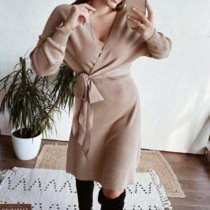 Купить женское кашемировое платье беж на запах выгодно