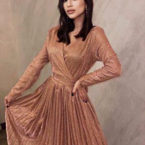 Замовити кольору мідь жіноче плаття плісе з люрексом на свято вигідно