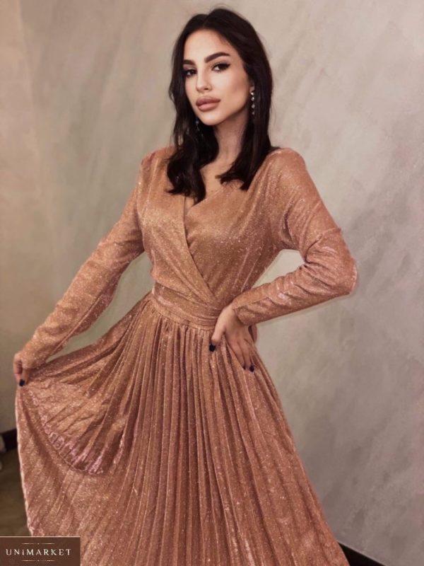 Заказать цвета медь женское платье плиссе с люрексом на праздник выгодно