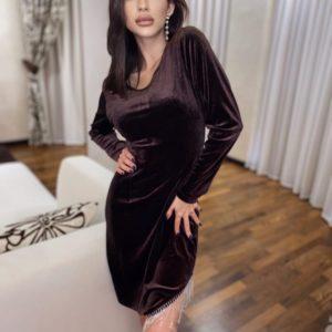 Купити жіночу чорну, коричневу оксамитову сукню з бахромою онлайн