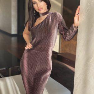 Замовити коричневу жіночу оксамитову сукню міді на одне плече недорого