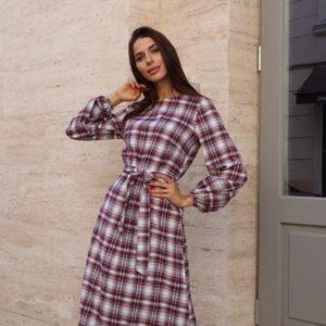 Заказать женское платье бордо в клетку с длинным рукавом (размер 42-54) онлайн