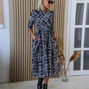 Купить в интернете платье миди с пышной юбкой из костюмки (размер 42-48) черного цвета для женщин