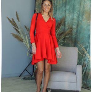 Купить красного цвета платье мини с декольте женское и длинным рукавом (размер 42-48) по скидке