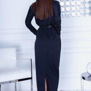 Приобрести черное осеннее женское длинное платье с карманами (размер 42-54) недорого