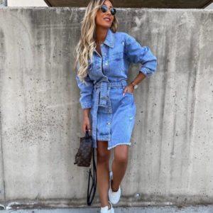Купити жіноче джинсове плаття з довгим рукавом і асиметричним низом блакитного кольору недорого