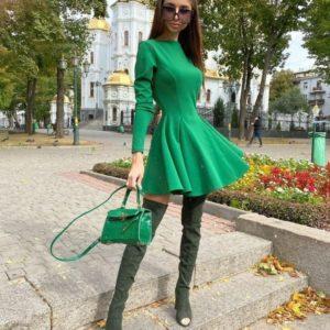 Заказать зеленое платье женское мини с длинным рукавом из итальянского трикотажа онлайн