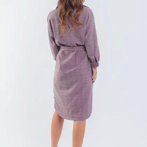 Приобрести женское (размер 42-56) сирень пудра осеннее платье в клетку свободного кроя в интернете
