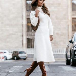 Заказать женское белое плотное платье миди из ангоры под горло (размер 42-50) онлайн