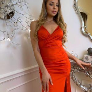 Заказать красное женское вечернее платье в пол на бретельках онлайн