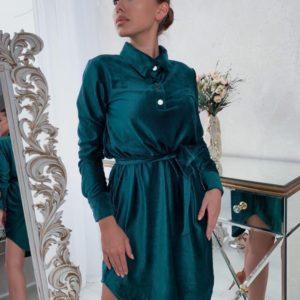 Купити зелене плаття-сорочка з вельвету з поясом для жінок вигідно