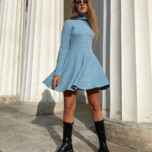 Купить по скидке женское платье гольф с юбкой солнце из ангоры голубого цвета выгодно